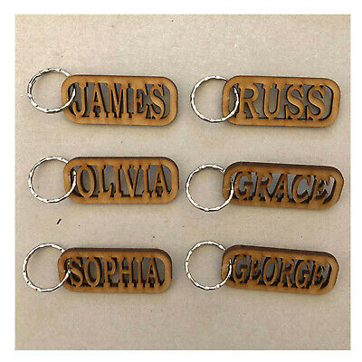 Personalised Wooden Keyring   Engraved KeyChain  Wedding Favours  Christmas Gift • 2.49£