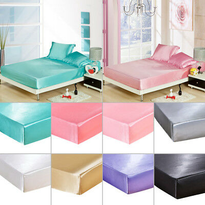 AU26.20 • Buy Silk Satin Polyester Fitted Sheet Bed Cover Protector Pillowcases Home Decor