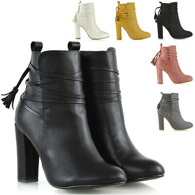 Womens Ankle Boots Ladies High Block Heel Lace Up Zip Booties Shoes Size 3-8 • 21.99£