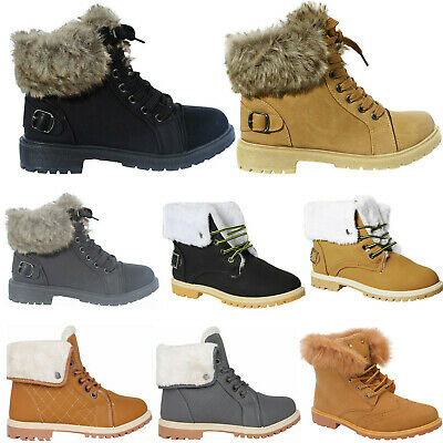 Womens Winter Ankle Boots Ladies Army Combat Flat Grip Sole Fur Lined Shoes Size • 13.95£