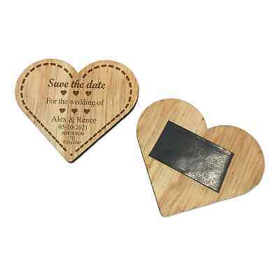 AU58.50 • Buy 25 X Personalised Wedding Favours Engraved Wooden Save The Date Fridge Magnet