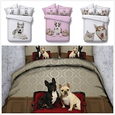 3D Pug Puppy Animal Photo Print Duvet Cover Bedding Set Pillow Cases All Sizes • 36.99£