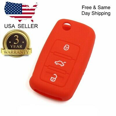 $3.69 • Buy Red Silicone Cover For VW 3-Button Remote Folding Flip Key
