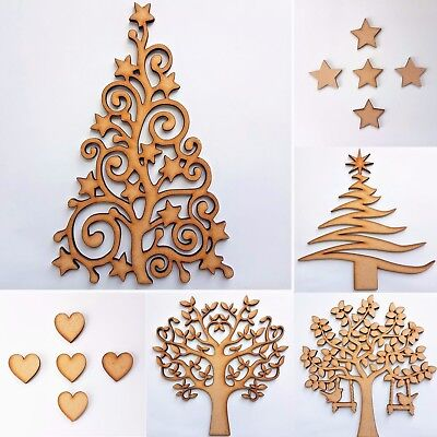 MDF Wooden Tree Wood Shape Blank Family Arts Crafting, FREE Stars Or Hearts  • 1.75£