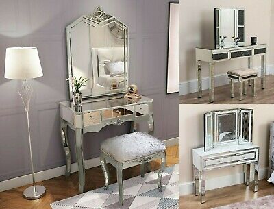 Mirrored Dressing Table Vanity Dresser Console Bedroom Stool Mirror Set Makeup • 69.99£