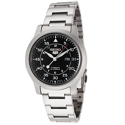 $ CDN126.04 • Buy Seiko 5 SNK809 Automatic MILITARY Black Dial Stainless Steel Mens Watch SNK809K1