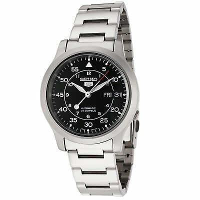 $ CDN119.61 • Buy Seiko 5 SNK809 Automatic MILITARY Black Dial Stainless Steel Mens Watch SNK809K1
