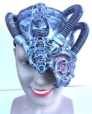 SILVER Latex Cyborg Face Mask Fancy Dress Robot Steampunk Android Alien • 10.99£