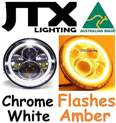 AU375 • Buy  7 CHROME Headlights White Ford Bronco PickUp F100 F150 F250 F350 Flashes AMBER