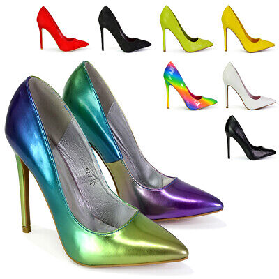 Womens High Heel Stiletto Pointed Essex Glam Ladies Party Clubbing Court Shoes • 15.99£