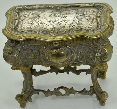 Antique 19th Century Victorian Hand Engraved Silver Plated Bronze Jewellery Box • 1,243.46£