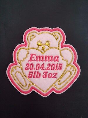 Personalised Embroidered Teddy Bear Baby Name Patch Badge Iron On • 3.95£