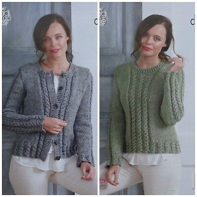 KNITTING PATTERN Ladies Cable Rib Cardigan & Jumper Chunky Tweed King Cole 5013 • 3.95£