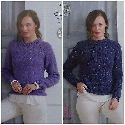 KNITTING PATTERN Ladies Easy Knit And Cable Jumpers Chunky King Cole 5015 • 3.95£