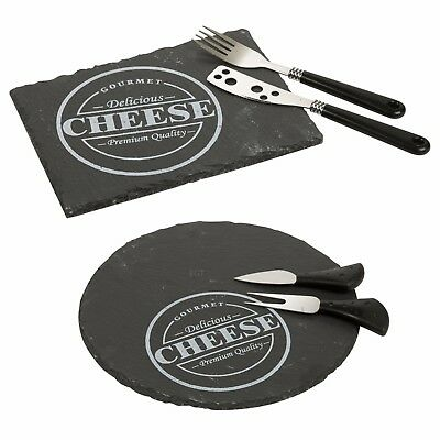 £7.99 • Buy 3Pc Slate Cheese Board With Knife & Fork Tapas Serving Display Platter Gift Set
