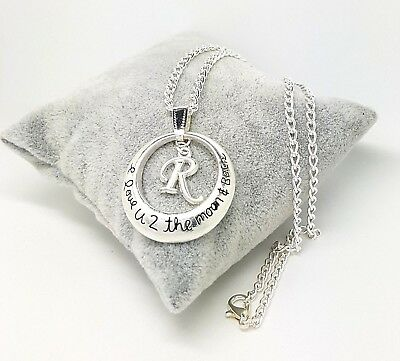 I Love You To The Moon And Back Letter Initial  Necklace Free Gift Bag Birthday • 3.50£