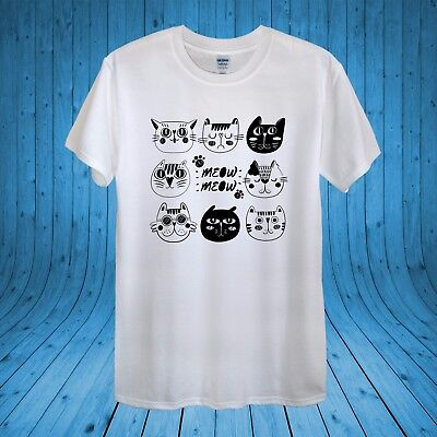 £10.95 • Buy Cat Face Collection Meow Kitty Love Cats Funny T­-shirt 100% Cotton Unisex Women