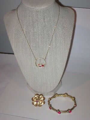 $ CDN33.32 • Buy LOT OF 3: Lia Sophia CADENCE NECKLACE & BRACELET SET W/ AZALEA RING SZ 8 - PINK