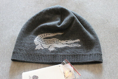 d66da72b6 Lacoste Men Gray Reversible Large Contrast Croc Merino Wool Hat Beanie •  55.00