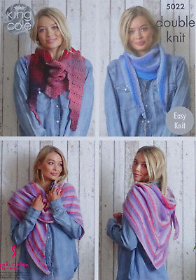 KNITTING PATTERN Ladies EASY KNIT Scarves 3 Designs Sprite DK King Cole 5022 • 3.95£