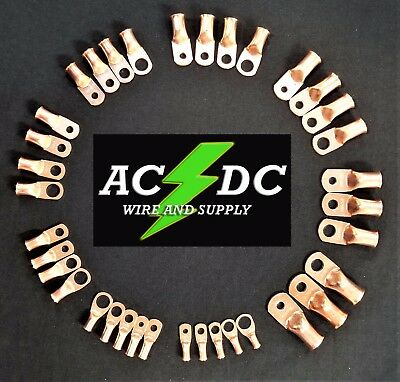 AC/DC WIRE Bare Copper Lug Ring Terminals Battery Wire Welding Cable AWG • 11.99$