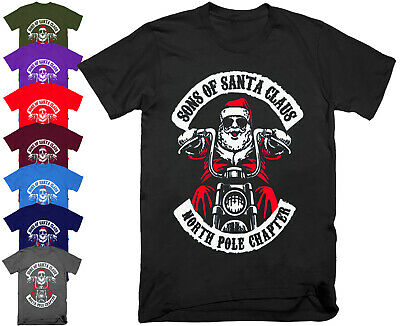 SONS OF SANTA CLAUS Funny Fathers Christmas Motorcycle Biker Dads T Shirt Gift • 8.95£