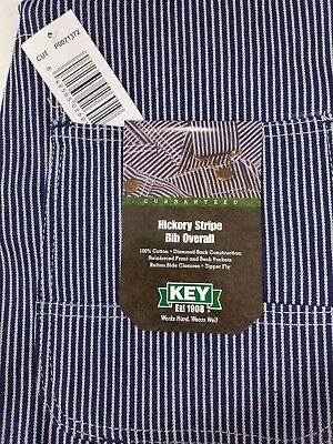 $37.95 • Buy NEW Mens Authentic KEY IMPERIAL Carpenter Bib Overalls Hickory Stripe 100%cotton