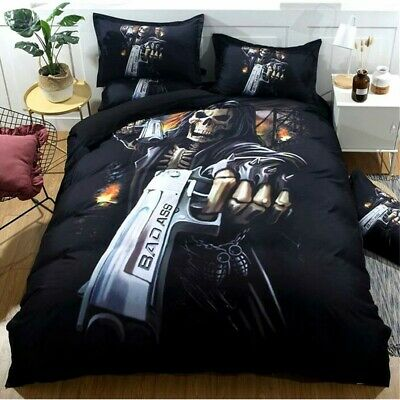 AU42.32 • Buy Skull Quilt Duvet Doona Cover Set Single/Double/Queen/King Size Bedding Set AU