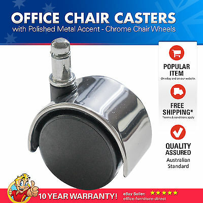 AU37.67 • Buy Chrome Office Chair Casters 47.5mm Diameter Wheels Universal Rolling Caster X5