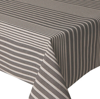 Acrylic Coated Table Cloth Grey Bands Multi Lines French Ticking Wipe Able Cover • 16.99£