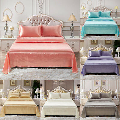 AU47.18 • Buy Comfortable Satin Silk Fitted Sheet Bed Flat Sheet Set Bedding Set Pillow Case