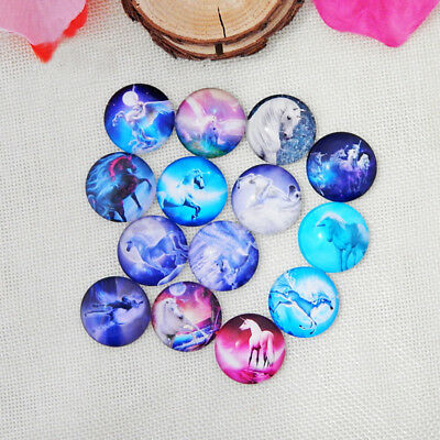 50 Unicorn Mythical Magical Mixed Round Glass Cabochons Flat Backed 12mm (011) • 1.95£