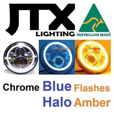 AU375 • Buy 1pr 7  JTX CHROME LED Headlights BLUE Ford Bronco F100 F150 F250 F350 Pick Up