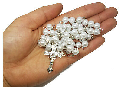 Simulated Pearl Rosary Beads Catholic Prayer Beads Gift Necklace Jewelry • 3.75£