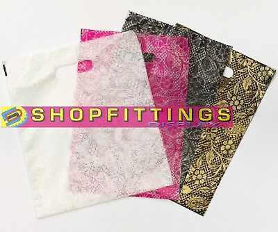 Strong Plastic Polythene Carrier Bags Heena Design Carrier Bags Patch Handle • 6.50£