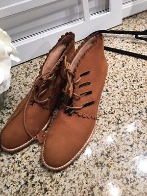 £37 • Buy F-Troupe Women's Leather Booties Lace Up Tan  Shoes Ret $350 Anthropologie 10