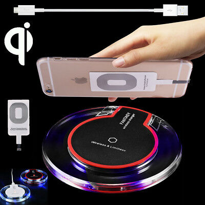 AU12.19 • Buy Clear Qi Wireless Fast Charger Mat Charging Pad +Receiver F IPhone X/6/6s/7 Plus
