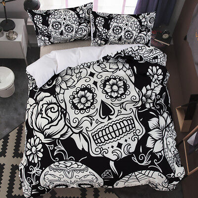 Sugar Skull Duvet Cover Bedding Set With Pillow Cases Single Double King Sizes • 32.99£
