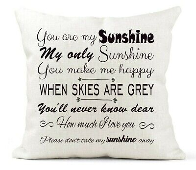 You Are My Sunshine Lyrics Quote Cushion Cover Gift Country Cream Canvas • 11.99£