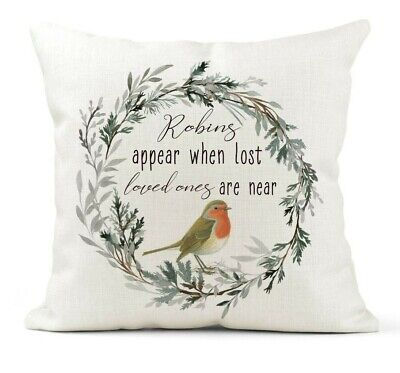 £18.99 • Buy Robins Appear When Lost Loved Ones Cushion Cover Gift Remembrance Keepsake