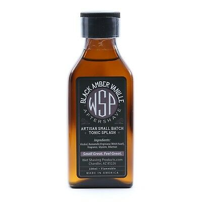 $25.99 • Buy WSP Men's Handcrafted Aftershave Splash Tonic (Black Amber Vanilla) Handmade USA