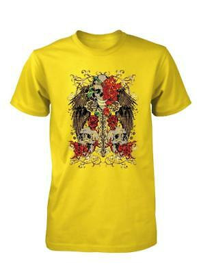 £9.49 • Buy Bnwt Skull With Roses And Angel Wings Tattoo Rock  Quality Adult T Shirt S-xxl