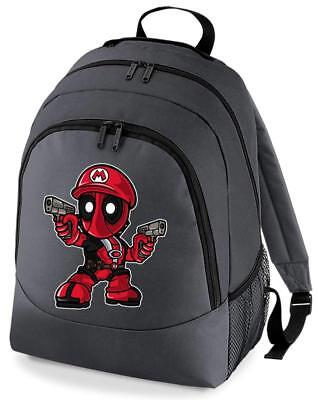 Bnwt Mario Deadpool Movie Gaming Mashup College Backpack Rucksack School Bag • 15.99£