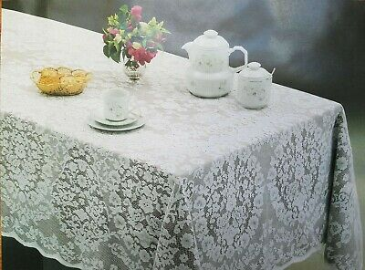 $21.99 • Buy White Or Cream  Lace Tablecloth Oblong Rectangle Perfect For Wedding Reception