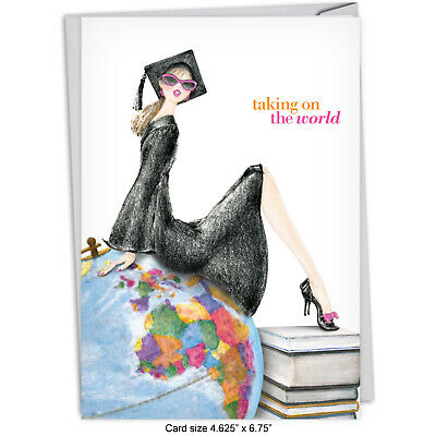$4.25 • Buy C5520GDG Graduation Greeting Card: Girl On Globe With Envelope