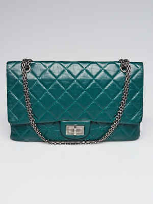 f06a71299aa9 Chanel Green 2.55 Reissue Quilted Calfskin Leather Classic 227 Jumbo Flap  Bag • 3