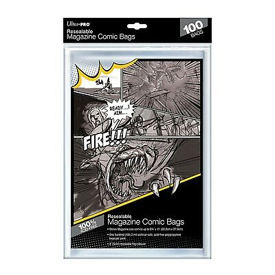 £12.82 • Buy Ultra Pro Resealable Magazine Size Clear Comic Bags Sleeves Acid Free X 100