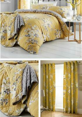 £15.50 • Buy Catherine Lansfield Canterbury Ochre Floral Duvet Cover Bedding Bed Set Yellow