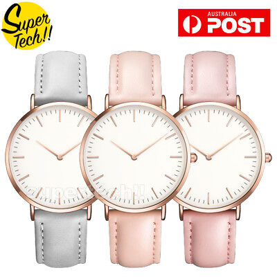 AU7.99 • Buy Women CLS Fashion Dress Watch Silver Rose Gold Black Faux Leather Ladies