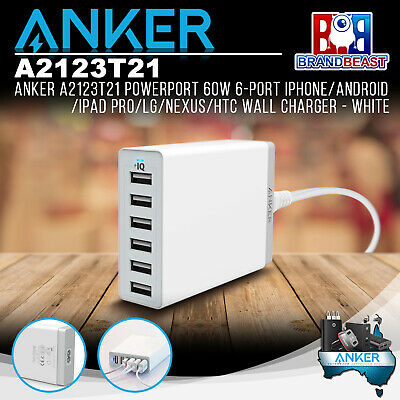AU63.26 • Buy Anker A2123T21 PowerPort 60W 6-Port IPhone/Android/iPad Pro Wall Charger - White